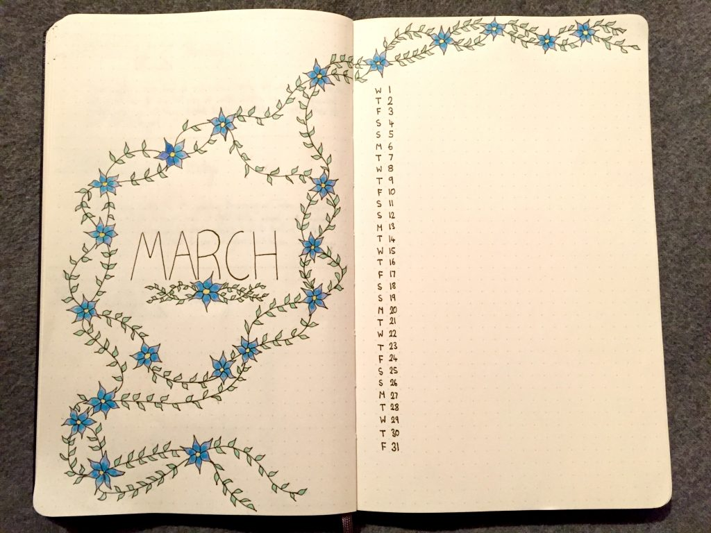 bullet journal monthly log