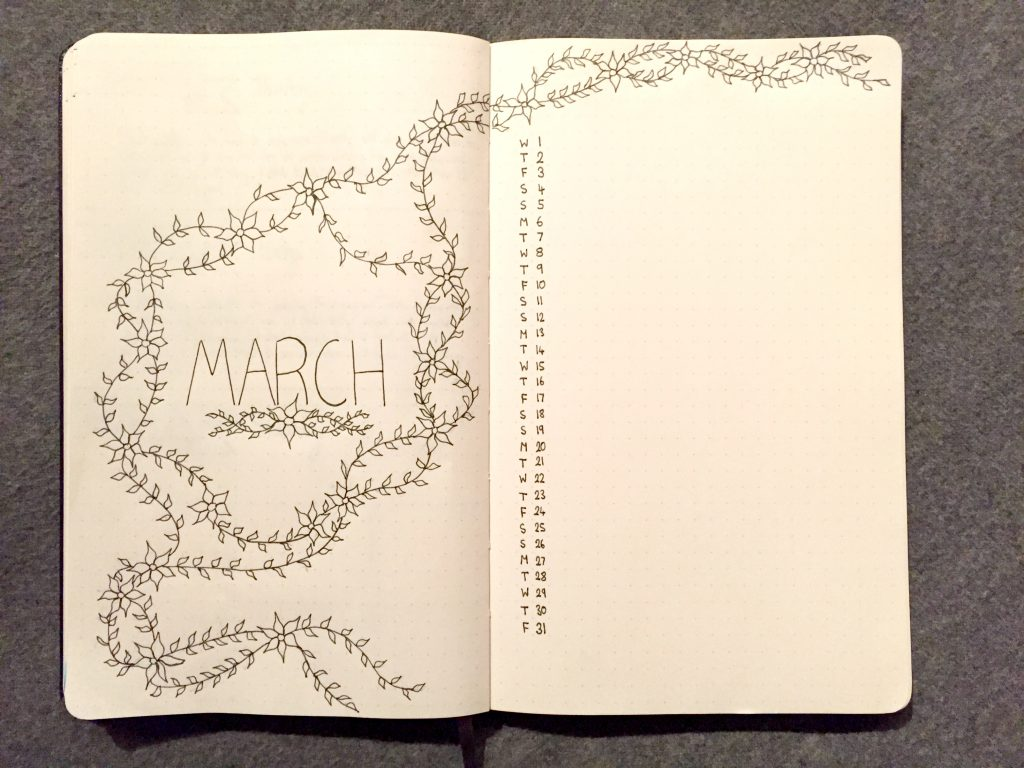 bullet journal monthly log set up